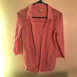 Hollister distressed pink blouse